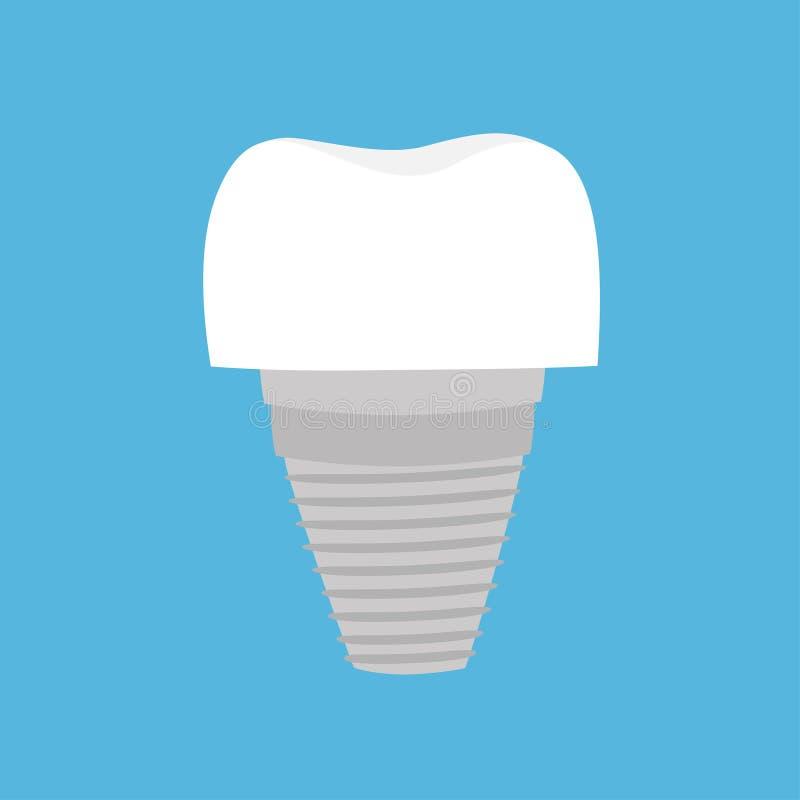 Протез зубного имплантата зуба Милый смешной значок мультфильма Устная зубоврачебная гигиена Забота зубов детей Здоровье зуба bac иллюстрация штока