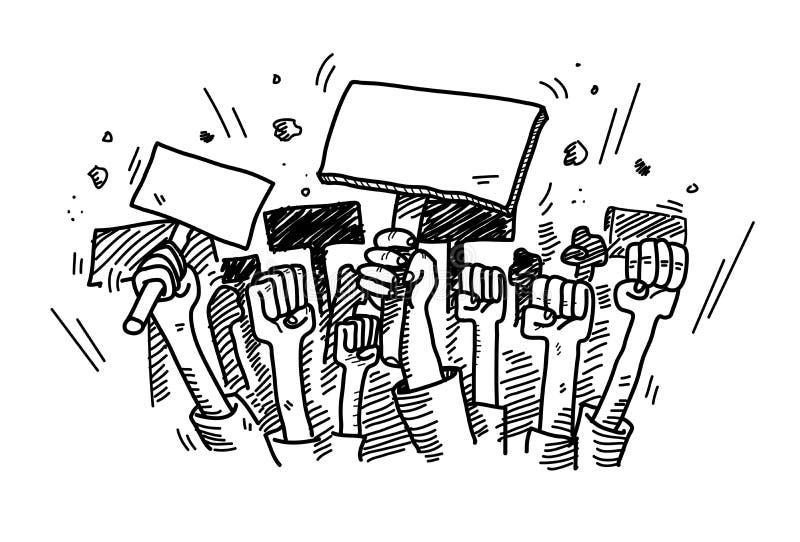 Протестовать Doodle иллюстрация вектора