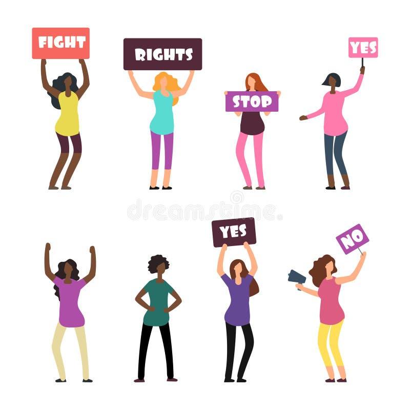Протестующие женщин шаржа, феминизм, права женщин и комплект протеста иллюстрация штока