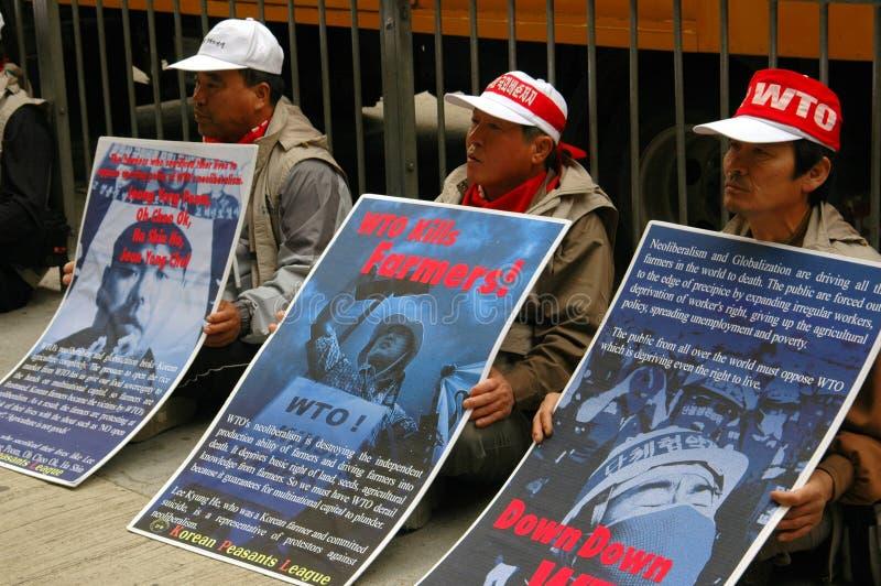 протестующие корейца Hong Kong стоковое изображение
