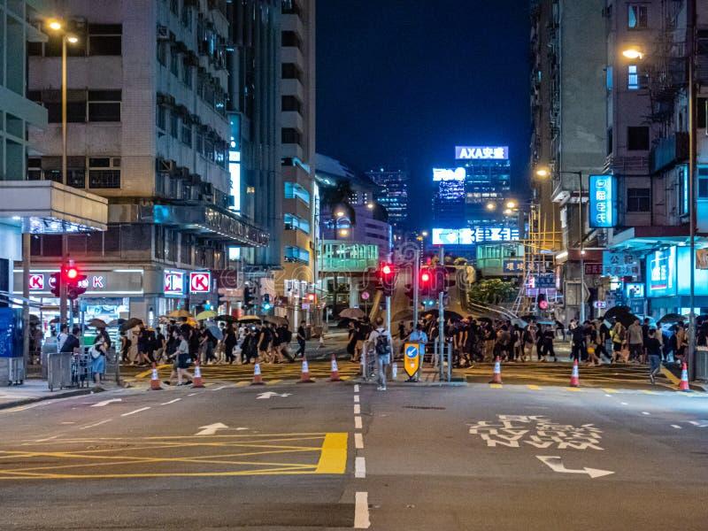 Протестующие 28-ОЕ ИЮЛЯ 2019 счета анти--экстрадиции Гонконга стоковая фотография