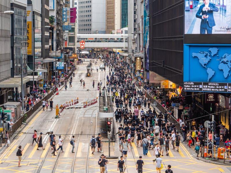 Протестующие 28-ОЕ ИЮЛЯ 2019 счета анти--экстрадиции Гонконга стоковые изображения rf