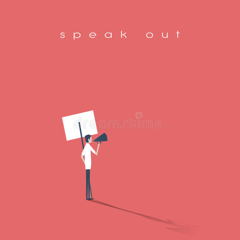 Протестующий говоря через мегафон или портативный магнитофон и проводя плакат, значок вектора знамени Символ активизма иллюстрация штока