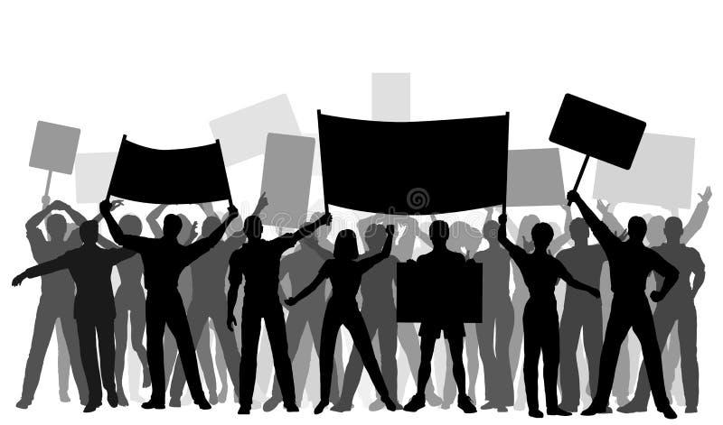 протестующий группы иллюстрация вектора