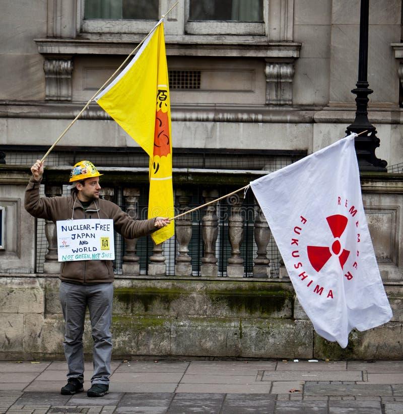 Протестующий Фукусимы стоковая фотография rf