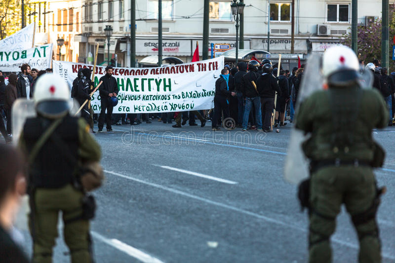Протесты анархиста в Афинах, Греции стоковая фотография rf