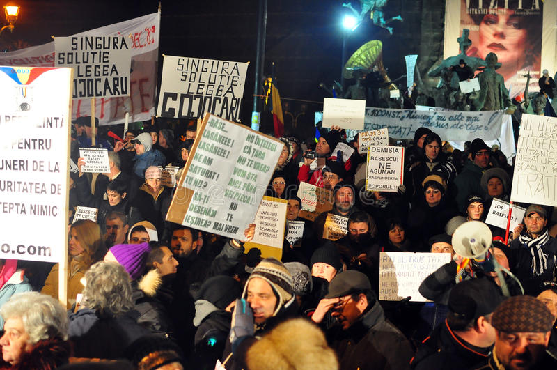 Протесты Бухарест - 19-ое января 2012 - 17 стоковые изображения