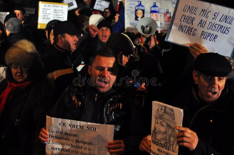 Протесты Бухарест - 19-ое января 2012 - 19 стоковая фотография