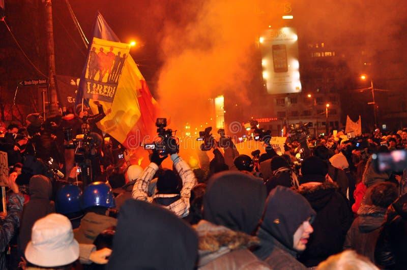 Протесты Бухарест - 19-ое января 2012 стоковое изображение rf