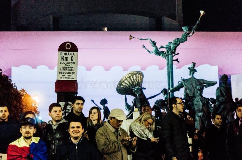 Протесты квадрата университета Бухареста стоковое изображение rf