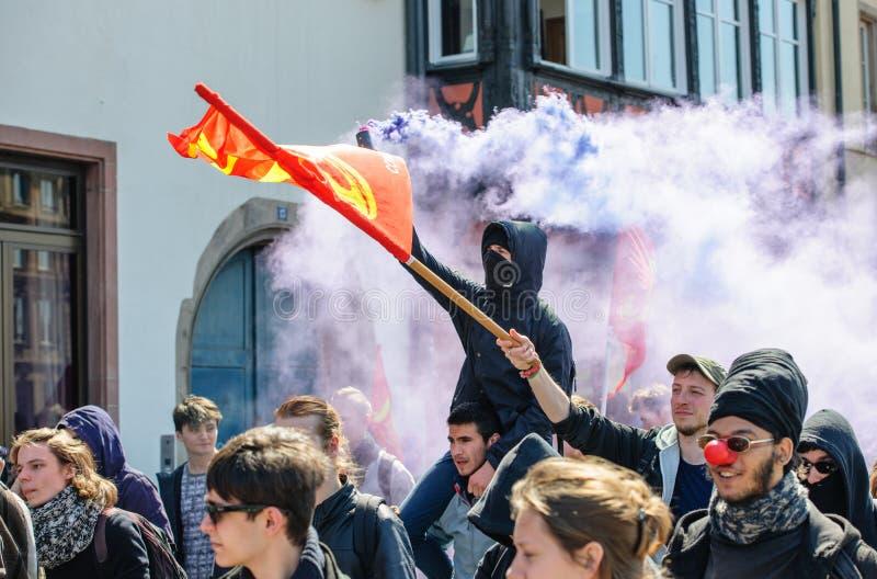 Протест в апреле против реформ работы в Франции стоковая фотография