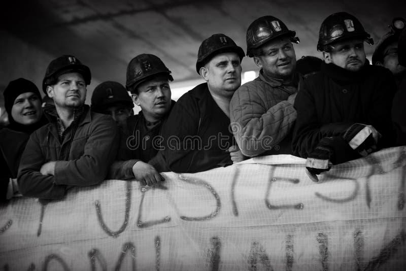 Протест Действи- забастовки силезских горнорабочих стоковые фотографии rf