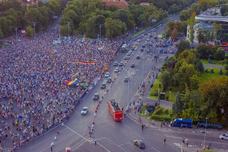 Протест диаспоры в Бухаресте против правительства стоковые фотографии rf