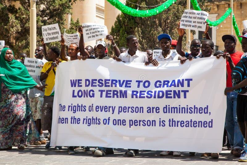 Протест иммигрантов в Валлетте, Мальте стоковые фото