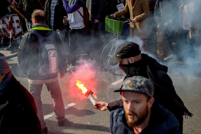 Протест против реформ работы в Франции стоковое фото rf