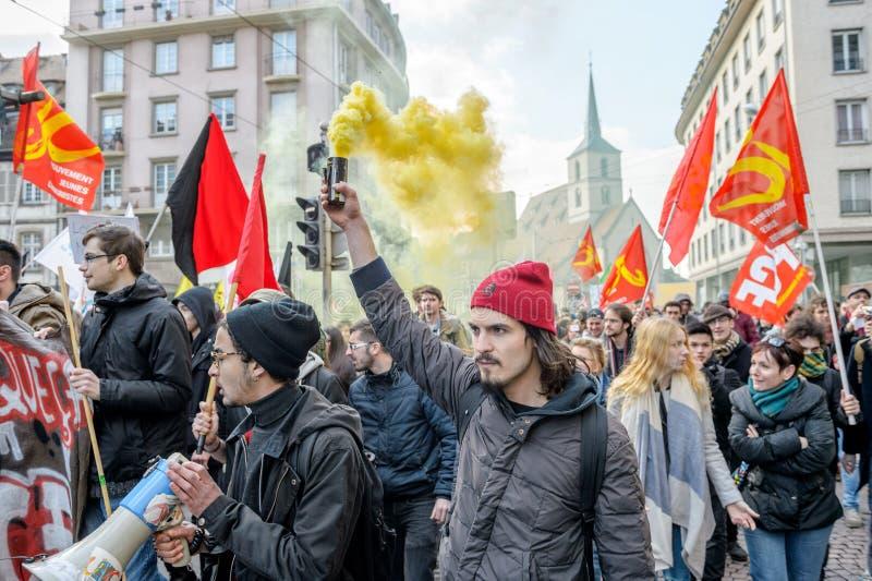 Протест против реформ работы в Франции стоковая фотография