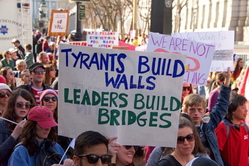 Протест Сан-Франциско -го март женщин, CA 2019 стоковая фотография rf