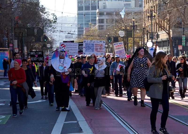 Протест Сан-Франциско -го март ` s женщин, c стоковая фотография