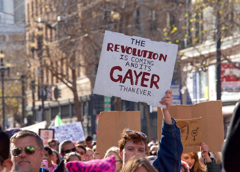 Протест Сан-Франциско -го март ` s женщин, CA стоковое фото