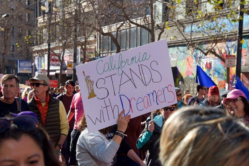 Протест Сан-Франциско -го март ` s женщин, CA стоковые фото