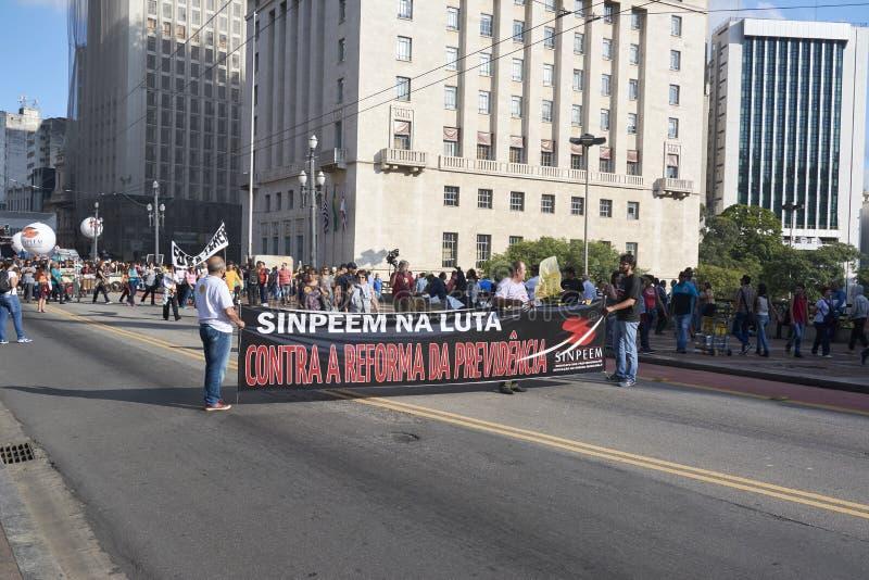 Протест учителей против реформы социального обеспечения sao Бразилии paulo стоковая фотография rf
