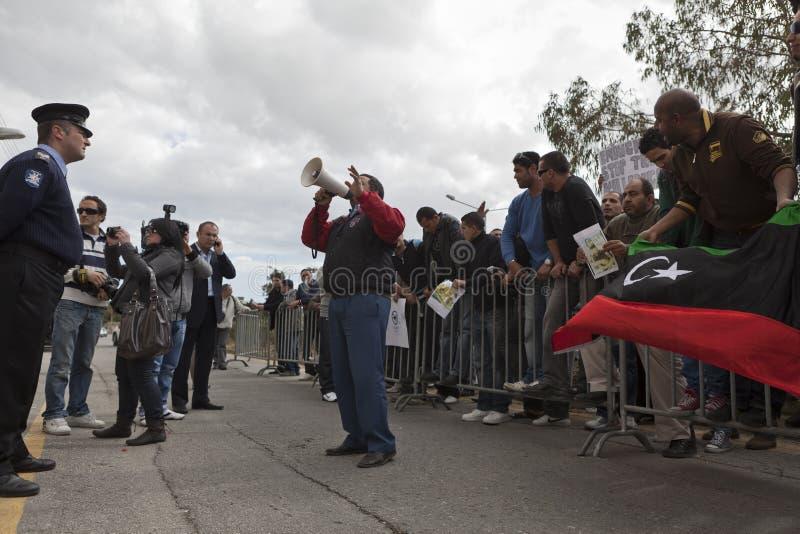 протест libyan посольства стоковое изображение rf