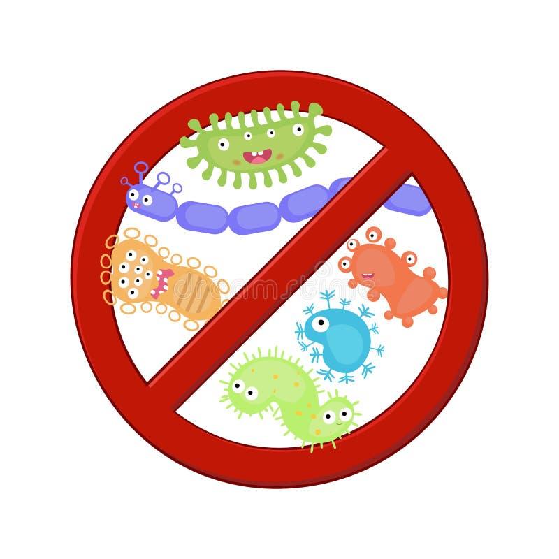 Противобактериологический знак с комплектом бактерий шаржа иллюстрация вектора