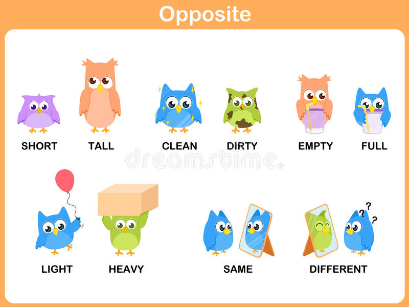 Противоположное слово для preschool бесплатная иллюстрация