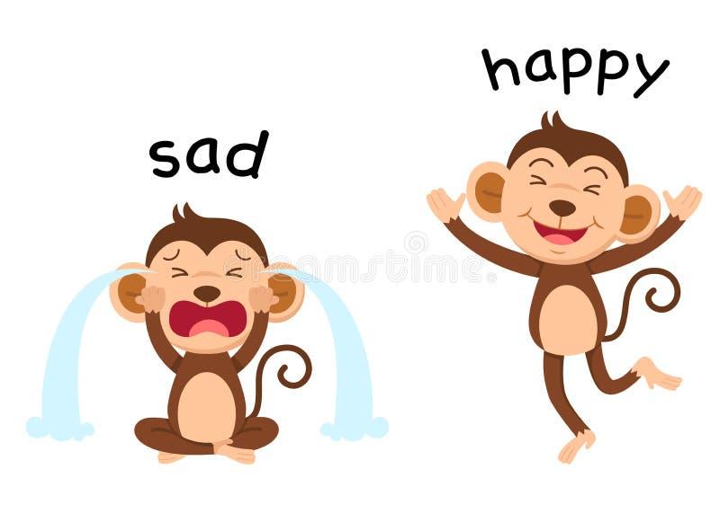 Противоположные слова унылые и счастливый вектор иллюстрация штока