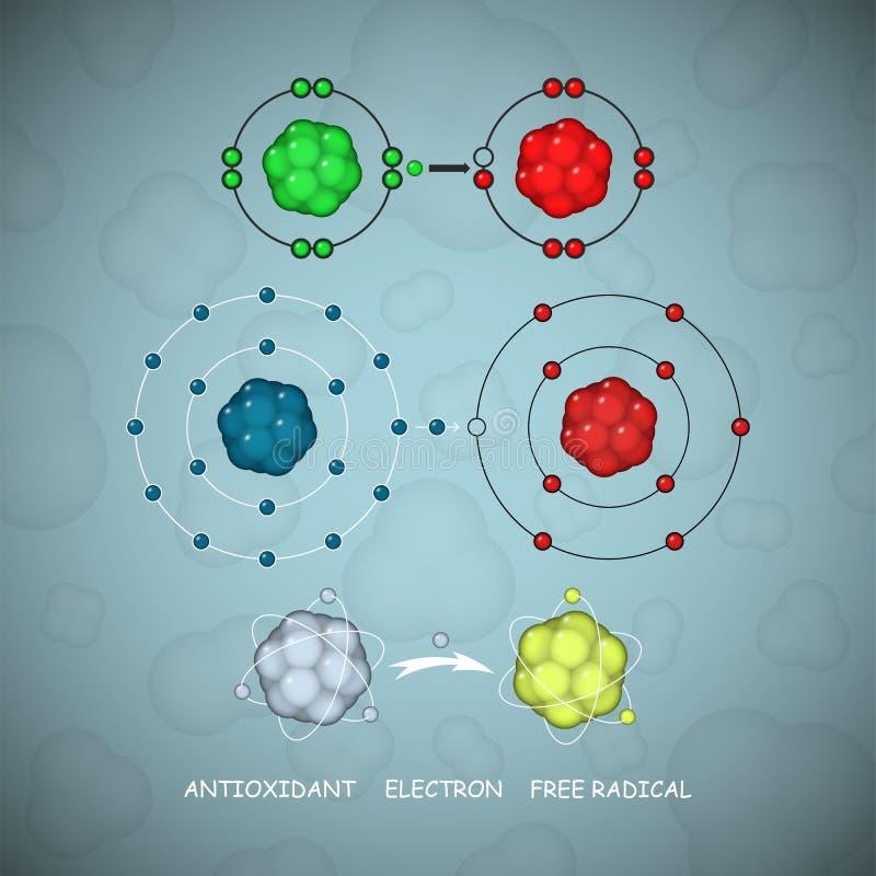 Противостаритель и молекулы или атомы свободного радикала комплект вектора иллюстрация вектора