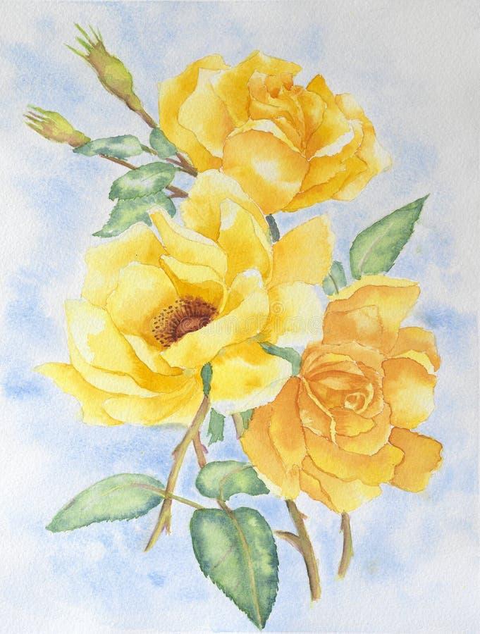 против букета предпосылки изолированный желтый цвет роз белый бесплатная иллюстрация