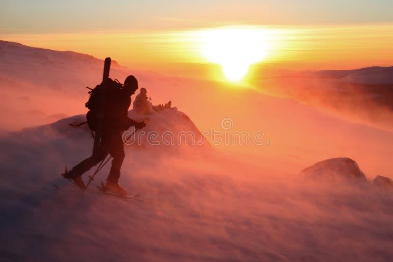 против ветра захода солнца стоковые фото