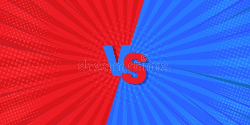 ПРОТИВ против голубого и красного шуточного дизайна r Мега идея для предпосылок, ретро стилей и комиксов иллюстрация вектора