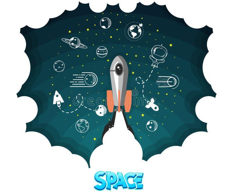 против голубого конца 4 дна nozzle космос неба ракеты к Наука и челнок, планеты в орбите и космос, startup дело бесплатная иллюстрация