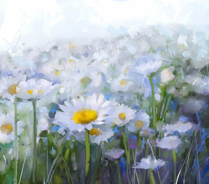 против голубой маргаритки цветет желтый цвет неба Абстрактная картина маслом цветка бесплатная иллюстрация
