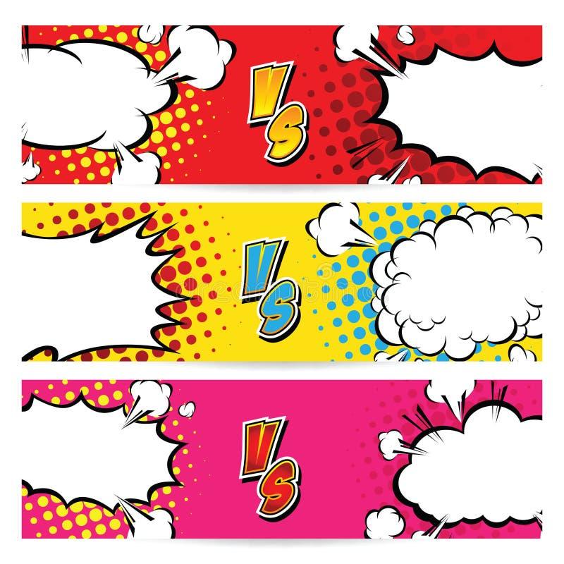 против ПРОТИВ Дизайн стиля комиксов предпосылок боя также вектор иллюстрации притяжки corel иллюстрация вектора