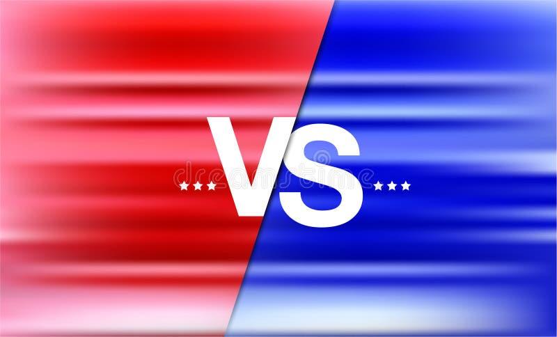 Против заголовка сражения, поединка конфликта между красными и голубыми командами иллюстрация вектора