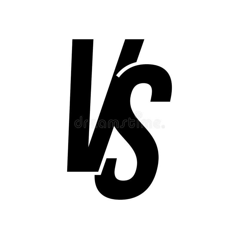 ПРОТИВ против изолированного значка вектора писем иллюстрация вектора