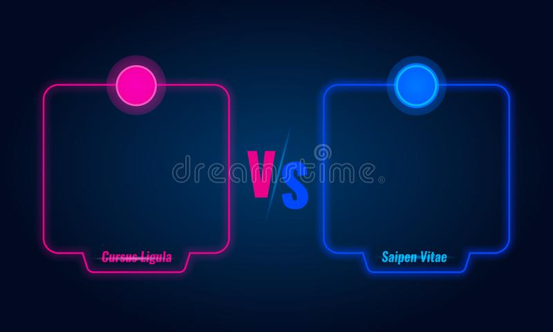 Против или сравните экран с голубыми неоновыми рамками и против писем также вектор иллюстрации притяжки corel бесплатная иллюстрация