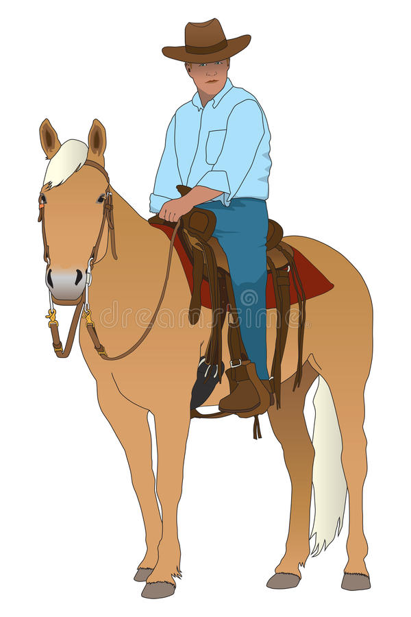 против ковбоя silhouetted зиги Монтаны horseback иллюстрация штока