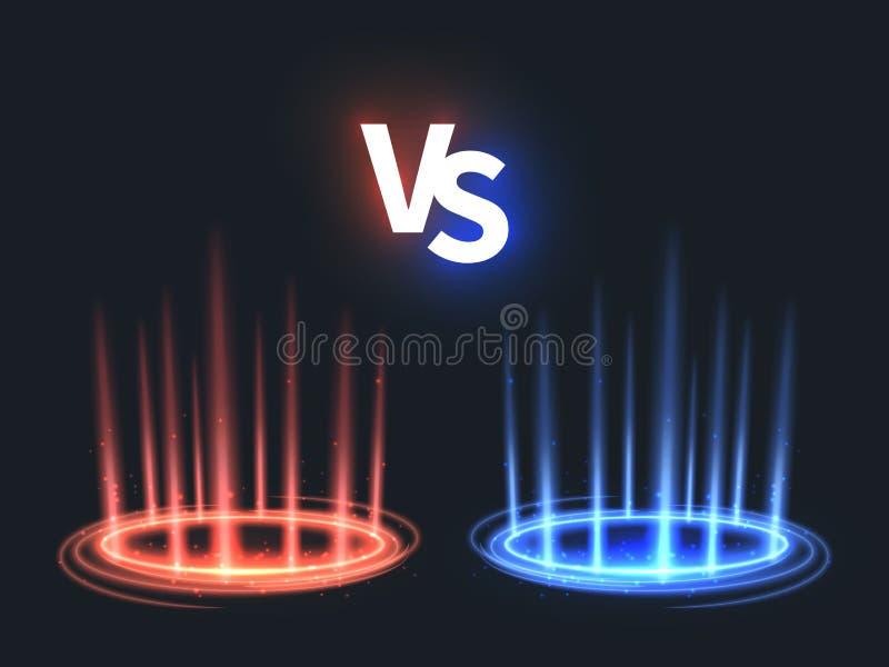 Против накалять teleport влияние на поле Против батальной сцены с лучами и искрами Вектор абстрактного hologram сверхестественный иллюстрация вектора