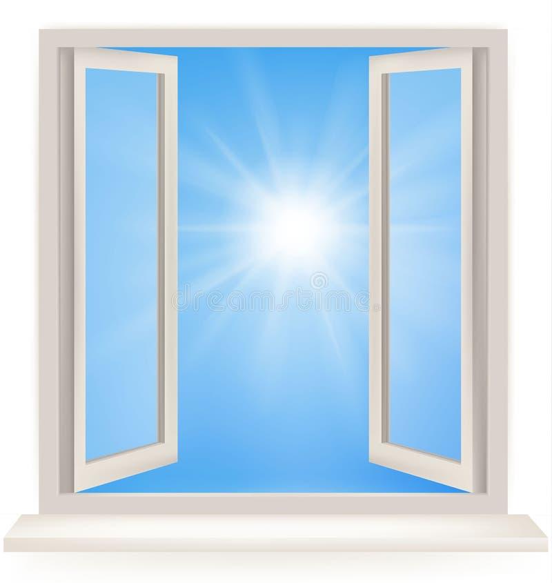 против открытого окна белизны стены бесплатная иллюстрация
