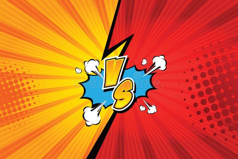 против ПРОТИВ Дизайн стиля комиксов предпосылок боя также вектор иллюстрации притяжки corel иллюстрация штока