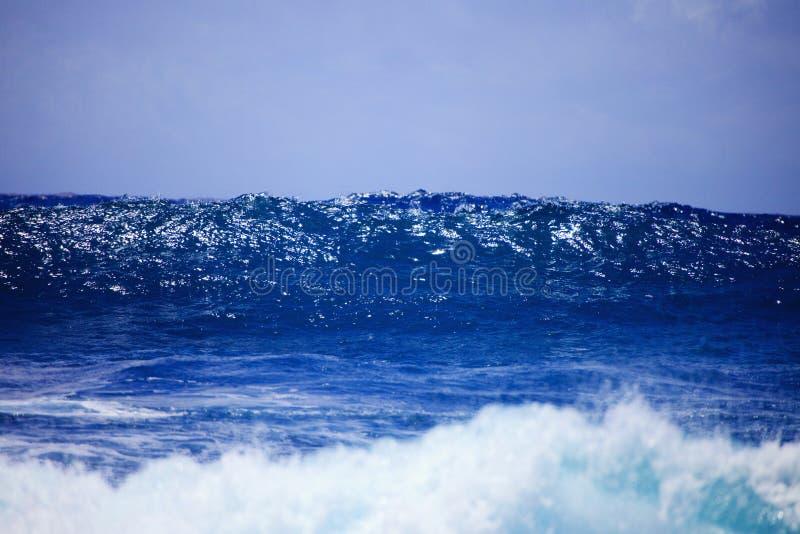 против пульсаций прибоя шторма берега oahu стоковое изображение rf