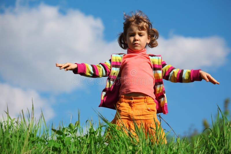 против травы девушки меньшее небо стоковое фото