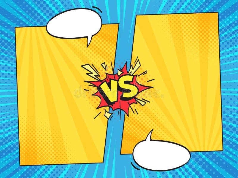 Против шуточной рамки Против комиксов запишите рамки с пузырями речи текста шаржа на векторе предпосылки нашивок полутонового изо иллюстрация вектора