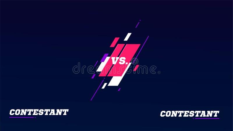 Против экрана Против заголовка сражения, команды поединка конфликта Экран видеоигры Конкуренция боя конфронтации Бокс иллюстрация вектора