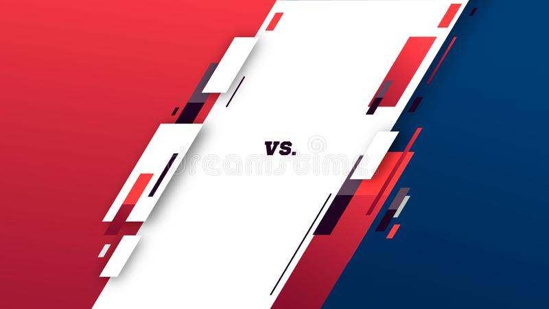 Против экрана Против заголовка сражения, поединка конфликта между красными и голубыми командами Конкуренция боя конфронтации r иллюстрация вектора