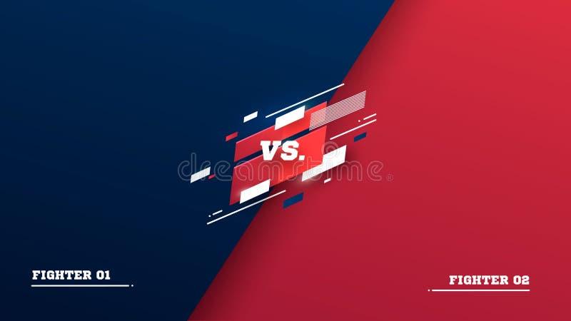 Против экрана Против заголовка сражения, поединка конфликта между красными и голубыми командами Конкуренция боя конфронтации Бокс иллюстрация штока