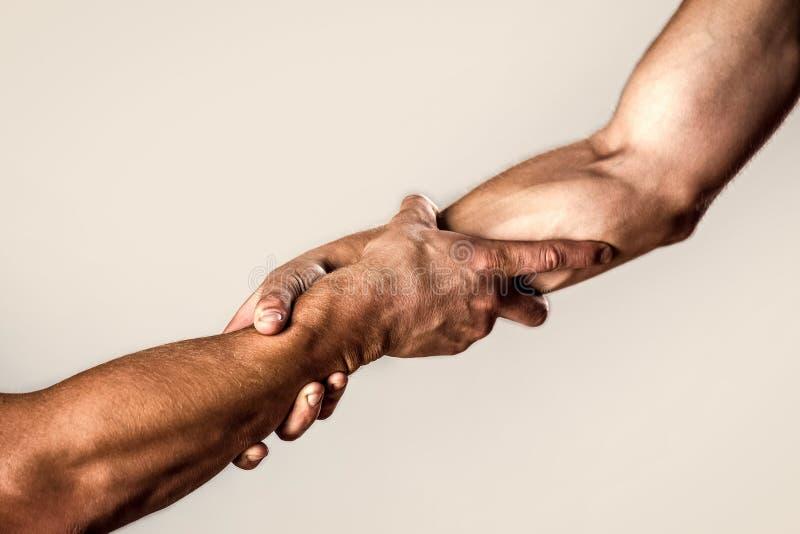 Протягиванная рука помощи, изолированная рука, спасение Близкая поднимающая вверх рука помощи Спасение, помогая жест или руки E стоковое изображение rf